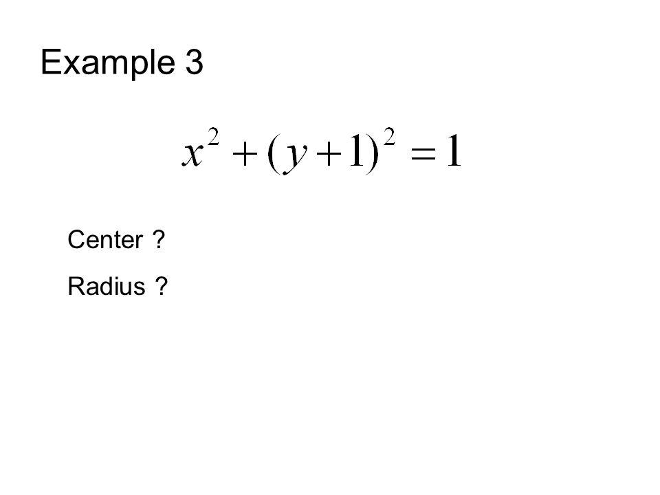 Example 3 Center ? Radius ?
