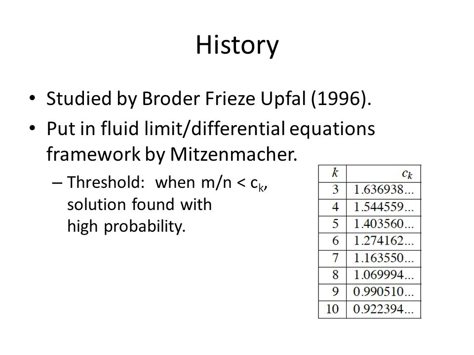 History Studied by Broder Frieze Upfal (1996). Put in fluid limit/differential equations framework by Mitzenmacher. – Threshold: when m/n < c k, solut