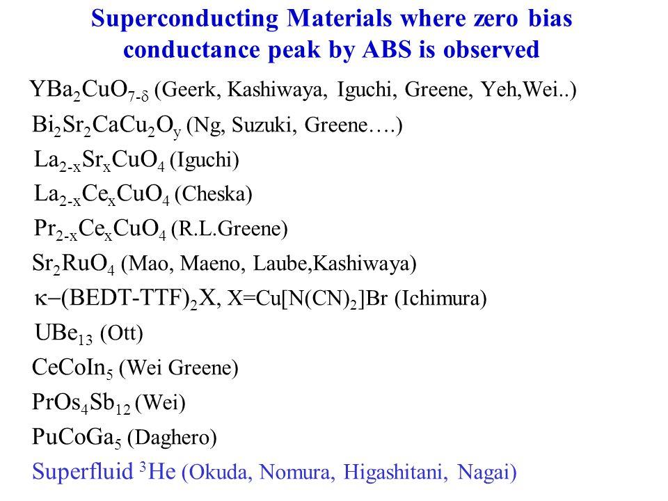 Superconducting Materials where zero bias conductance peak by ABS is observed YBa 2 CuO 7-  (Geerk, Kashiwaya, Iguchi, Greene, Yeh,Wei..) Bi 2 Sr 2 C
