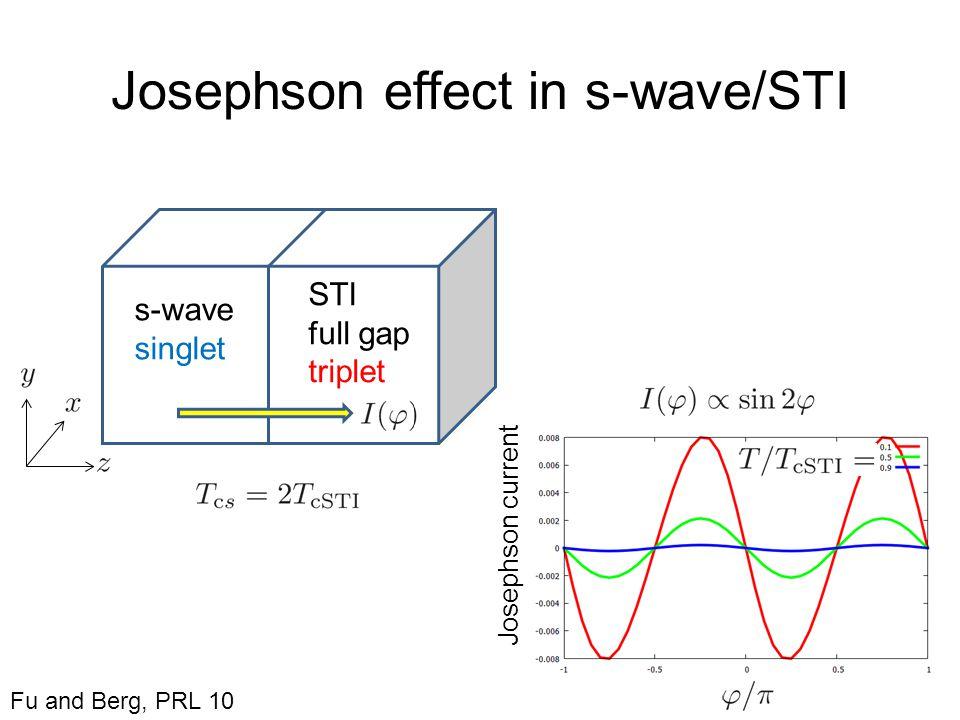 Josephson effect in s-wave/STI s-wave singlet STI full gap triplet Josephson current Fu and Berg, PRL 10