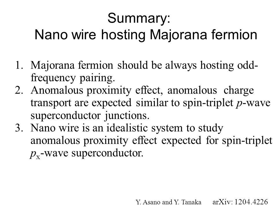 Summary: Nano wire hosting Majorana fermion 1.Majorana fermion should be always hosting odd- frequency pairing. 2.Anomalous proximity effect, anomalou
