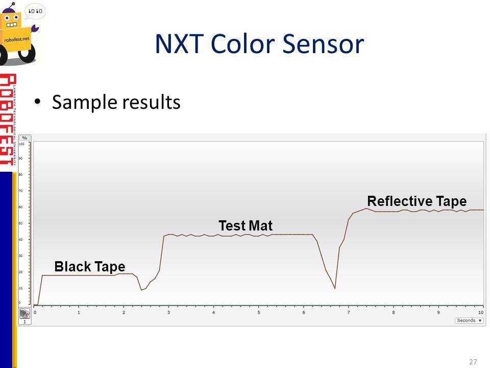 Sample results NXT Color Sensor 27 Black Tape Test Mat Reflective Tape