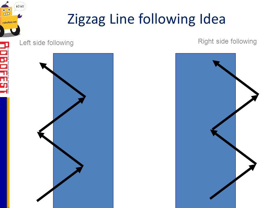 Zigzag Line following Idea Left side following Right side following