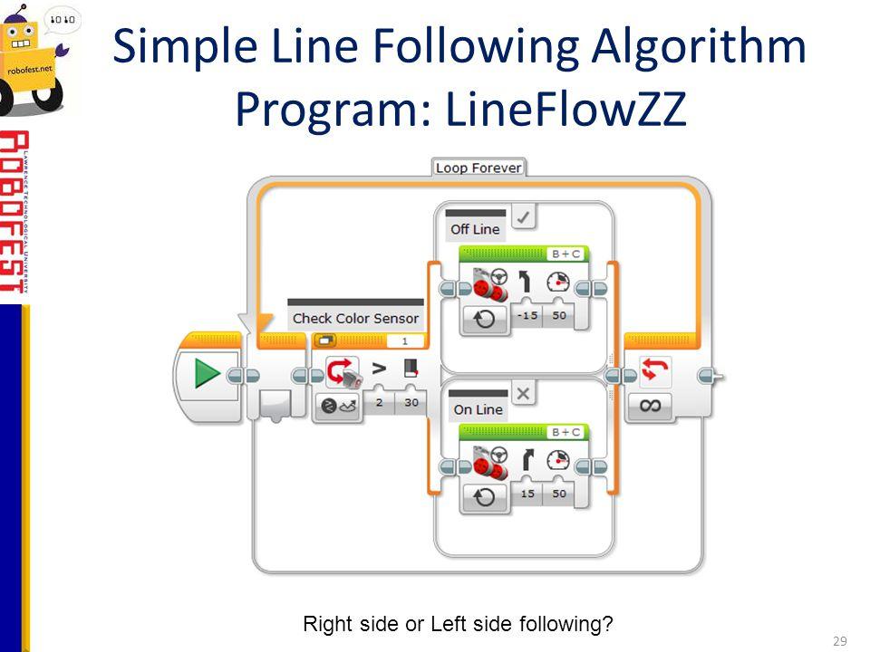 Simple Line Following Algorithm Program: LineFlowZZ 29 Right side or Left side following?