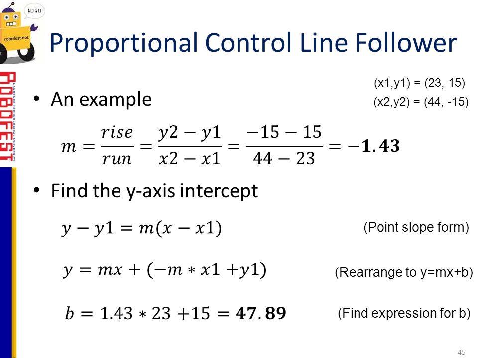 An example Find the y-axis intercept Proportional Control Line Follower 45 (Point slope form) (Rearrange to y=mx+b) (Find expression for b) (x1,y1) =