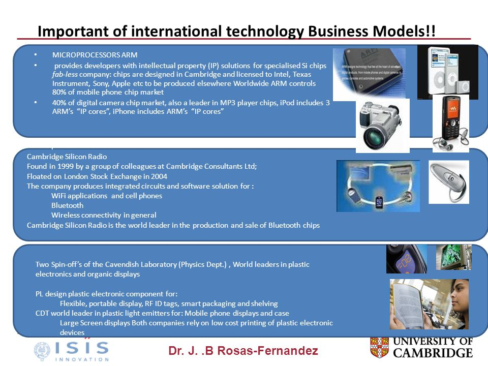 Dr. J..B Rosas-Fernandez Important of international technology Business Models!! MICROPROCESSORS ARM provides developers with intellectual property (I