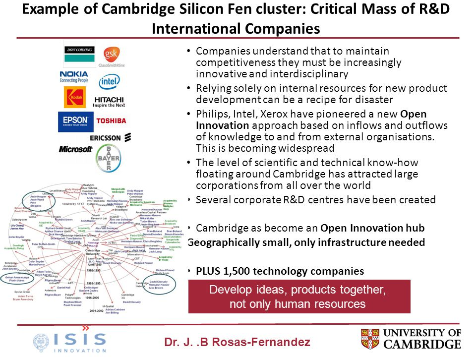 Dr. J..B Rosas-Fernandez Example of Cambridge Silicon Fen cluster: Critical Mass of R&D International Companies Companies understand that to maintain