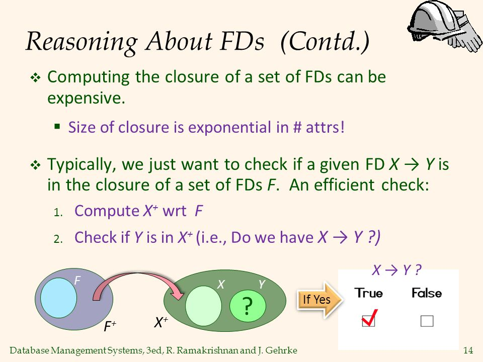 Database Management Systems, 3ed, R. Ramakrishnan and J. Gehrke14 Reasoning About FDs (Contd.)  Computing the closure of a set of FDs can be expensiv