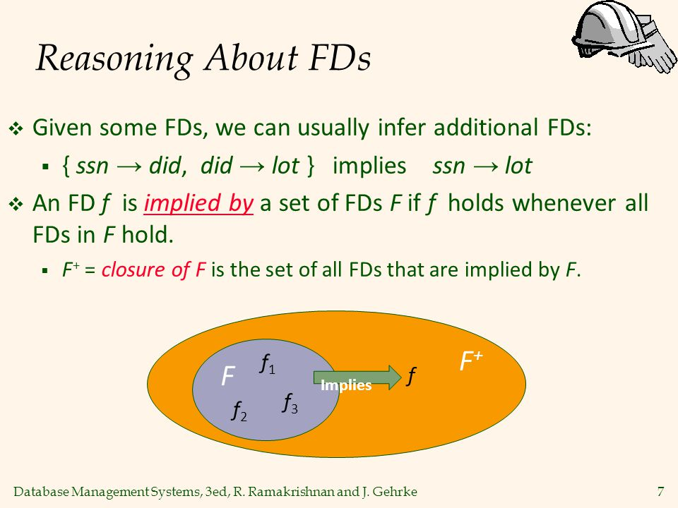 Database Management Systems, 3ed, R. Ramakrishnan and J. Gehrke7 Reasoning About FDs  Given some FDs, we can usually infer additional FDs:  { ssn →
