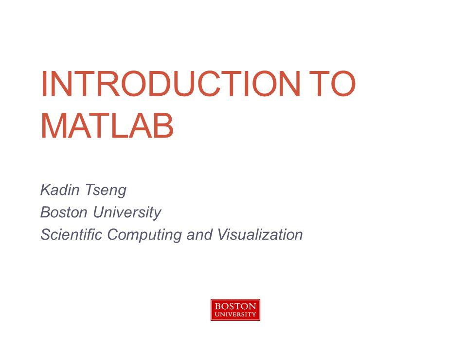 >> t = 0:pi/100:2*pi; >> y = sin(t); >> plot(t,y) Line Plot Introduction to MATLAB 22
