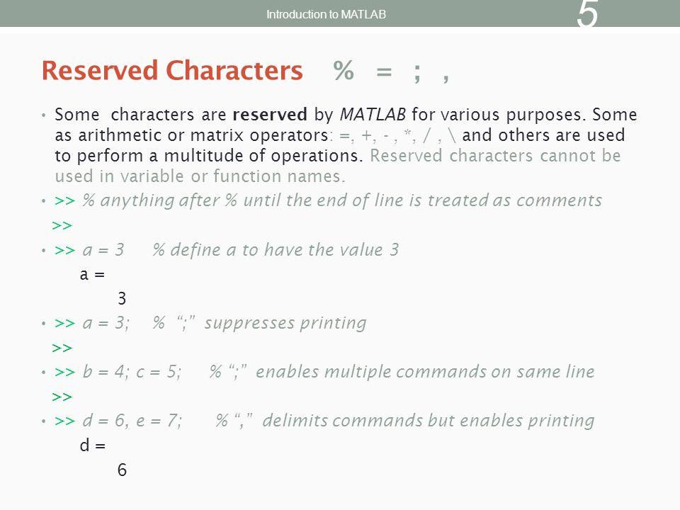 >> x = magic(3); % generate data for bar graph >> bar(x) % create bar chart >> grid % add grid for clarity 2D Bar Graph Introduction to MATLAB 26