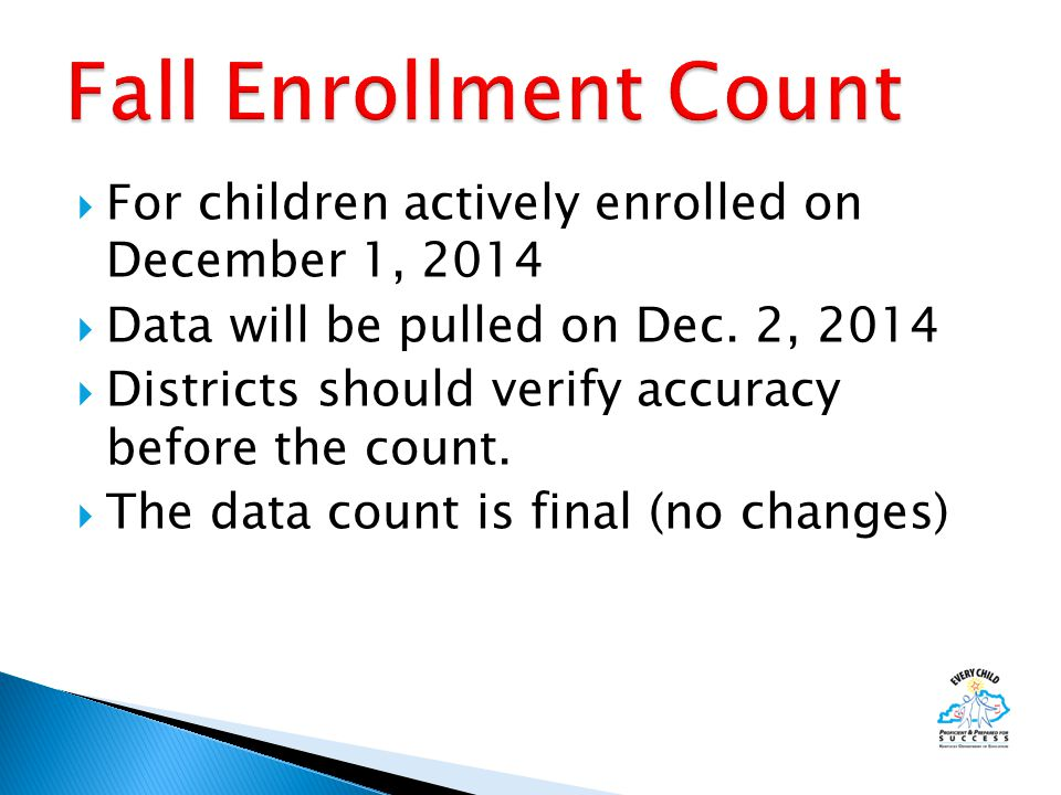  For children actively enrolled on December 1, 2014  Data will be pulled on Dec.