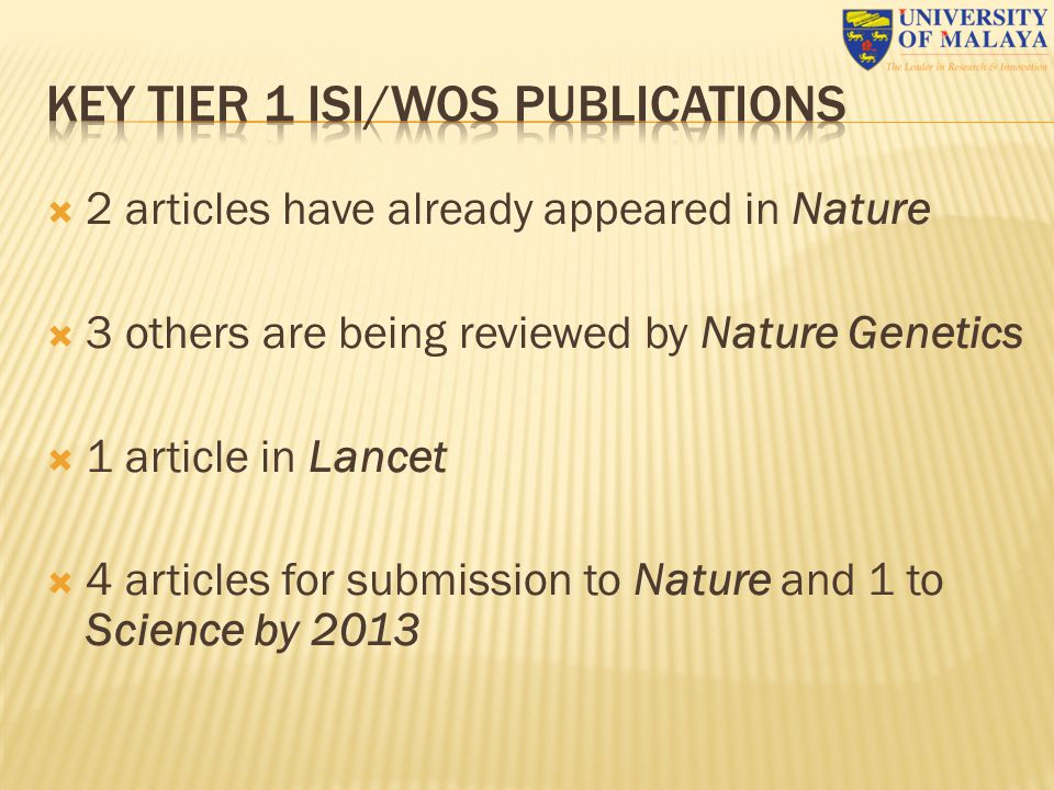  2 articles have already appeared in Nature  3 others are being reviewed by Nature Genetics  1 article in Lancet  4 articles for submission to Nat