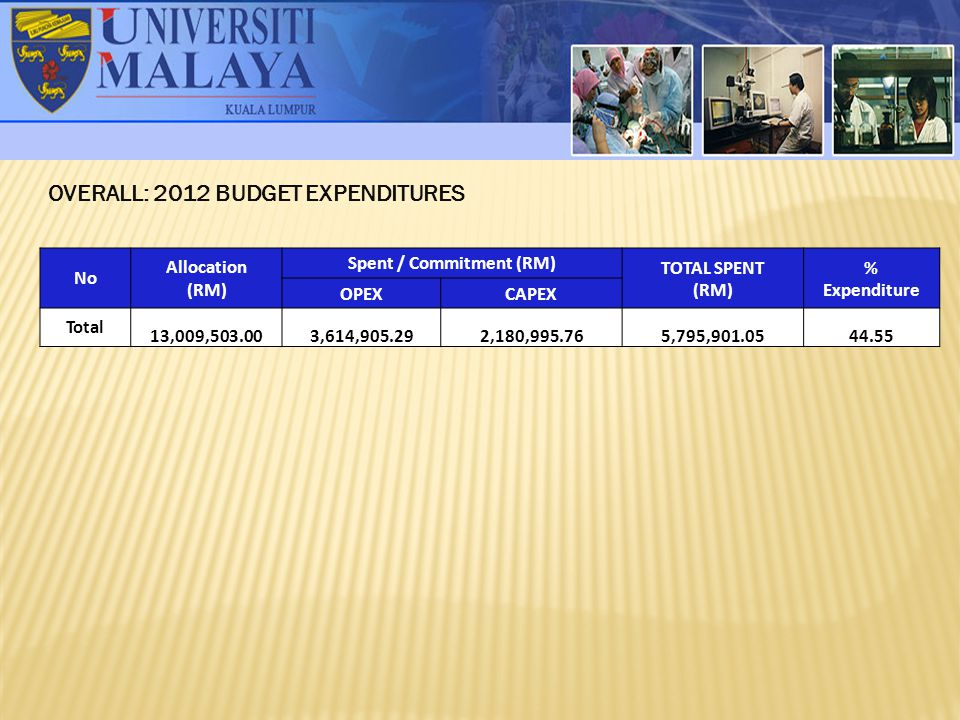 OVERALL: 2012 BUDGET EXPENDITURES No Allocation (RM) Spent / Commitment (RM) TOTAL SPENT (RM) % Expenditure OPEXCAPEX Total 13,009,503.003,614,905.292