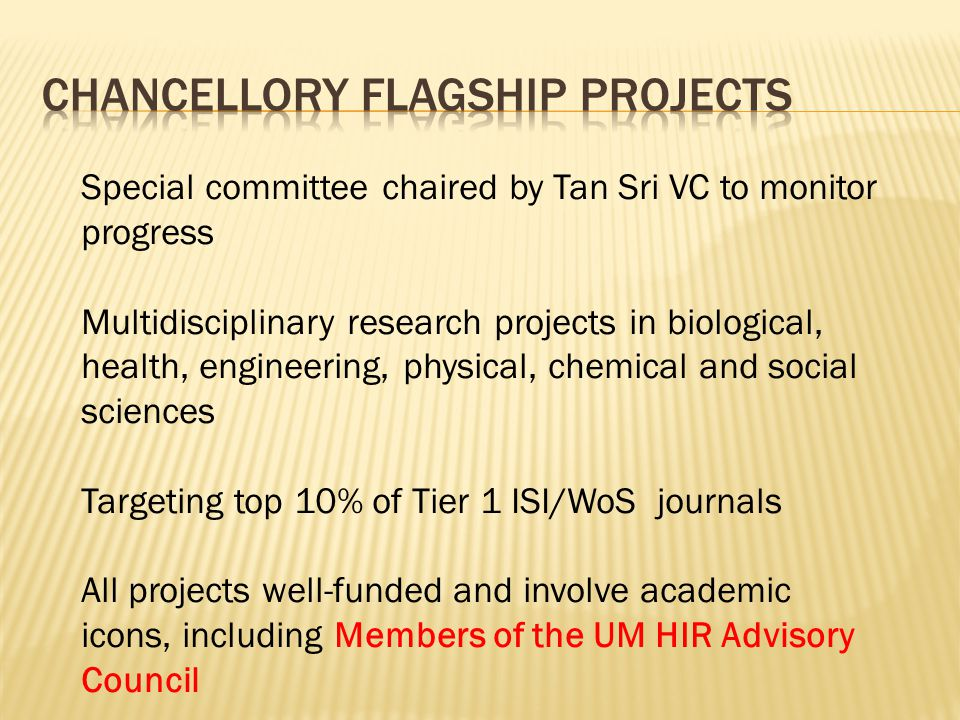 Special committee chaired by Tan Sri VC to monitor progress Multidisciplinary research projects in biological, health, engineering, physical, chemical