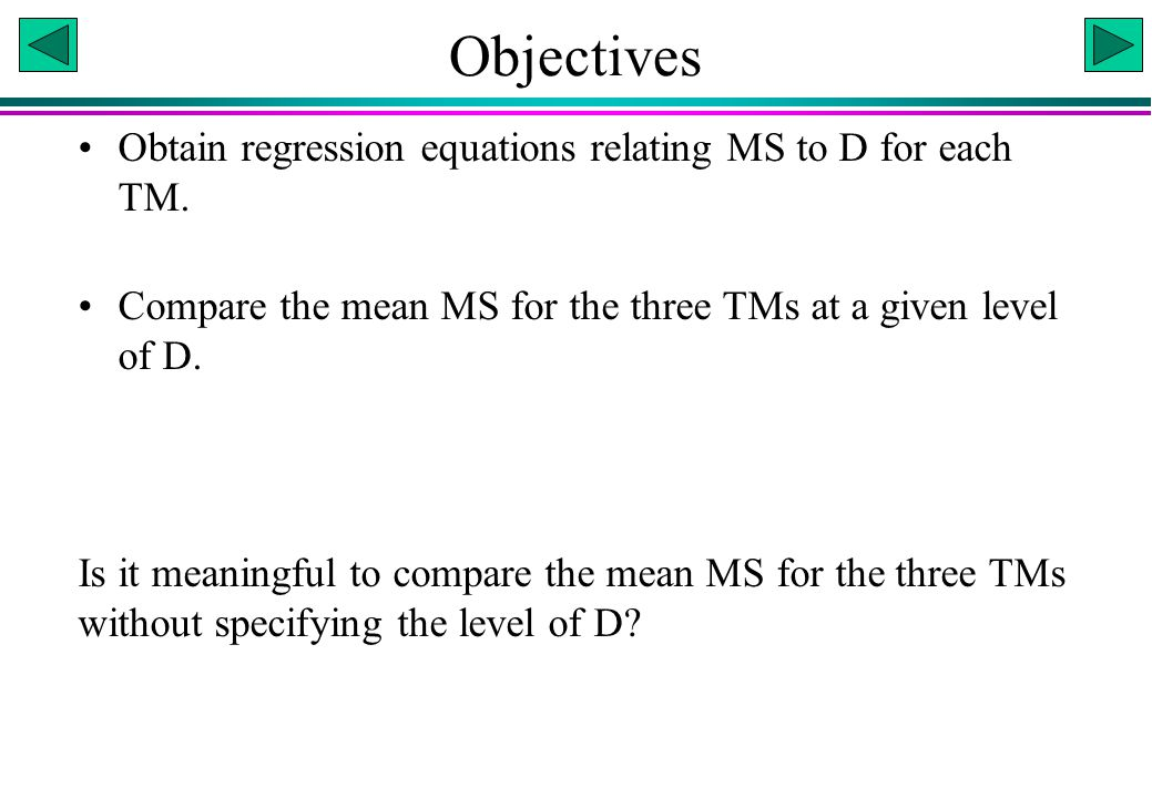 Objectives Obtain regression equations relating MS to D for each TM.