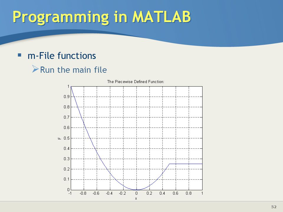 52 Programming in MATLAB  m-File functions  Run the main file