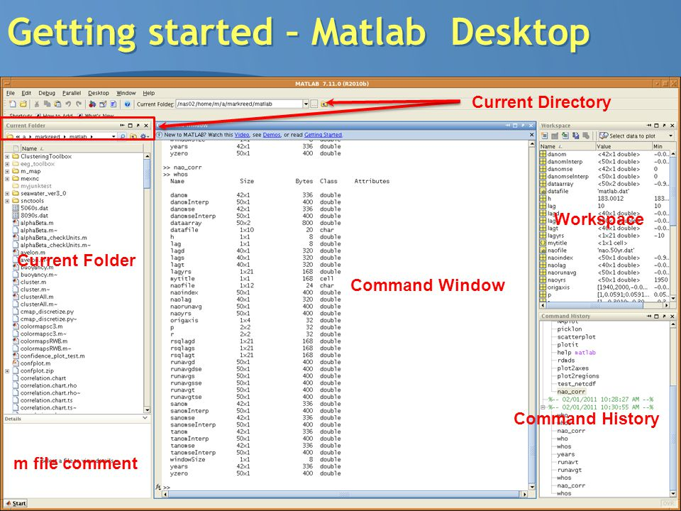 8 Getting started – Matlab Desktop Command Window Workspace Command History Current Folder m file comment Current Directory