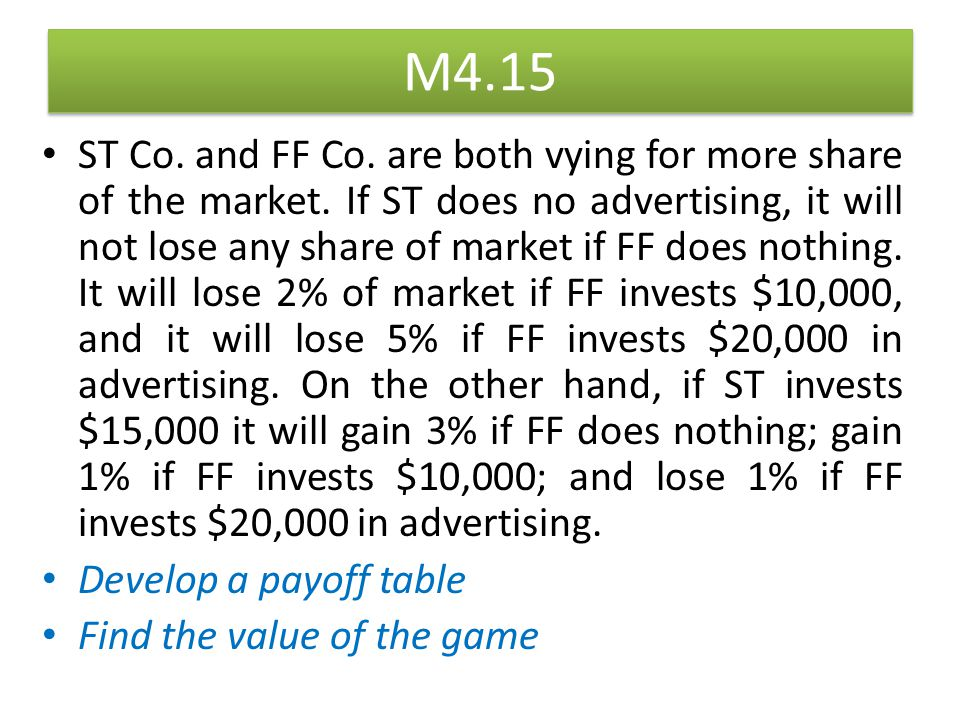 M4.15 ST Co. and FF Co. are both vying for more share of the market. If ST does no advertising, it will not lose any share of market if FF does nothin
