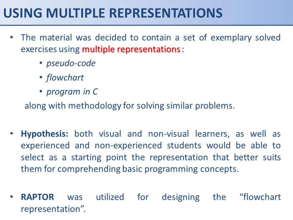 USING MULTIPLE REPRESENTATIONS multiple representations The material was decided to contain a set of exemplary solved exercises using multiple represe