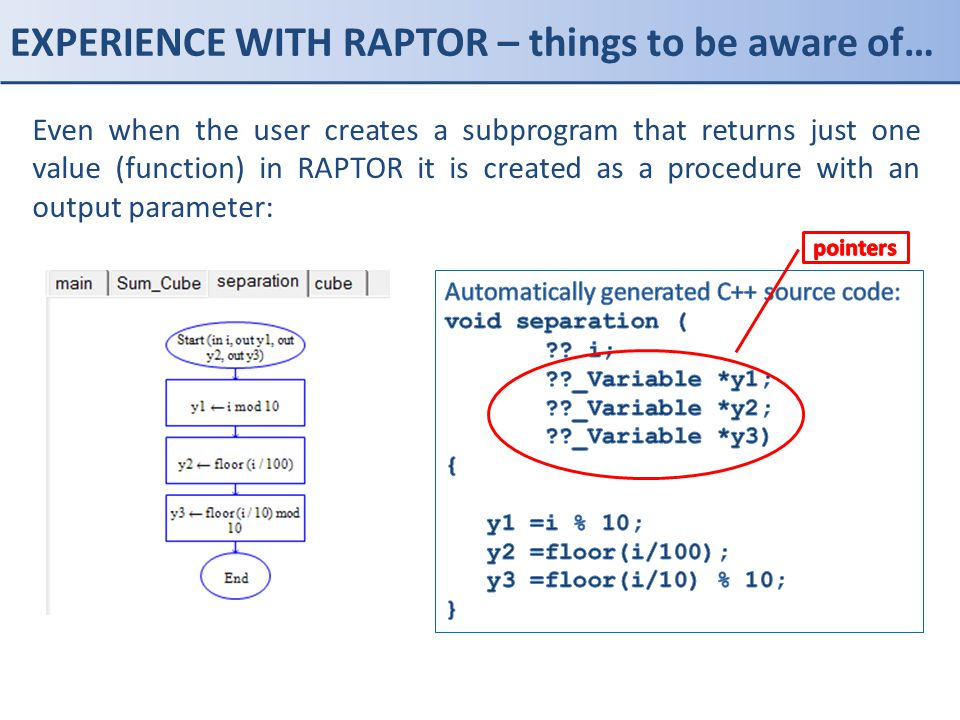 EXPERIENCE WITH RAPTOR – things to be aware of… Even when the user creates a subprogram that returns just one value (function) in RAPTOR it is created