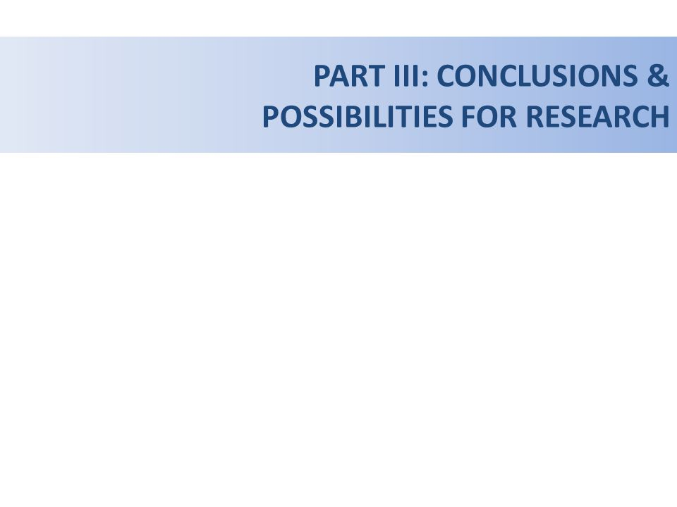 PART III: CONCLUSIONS & POSSIBILITIES FOR RESEARCH