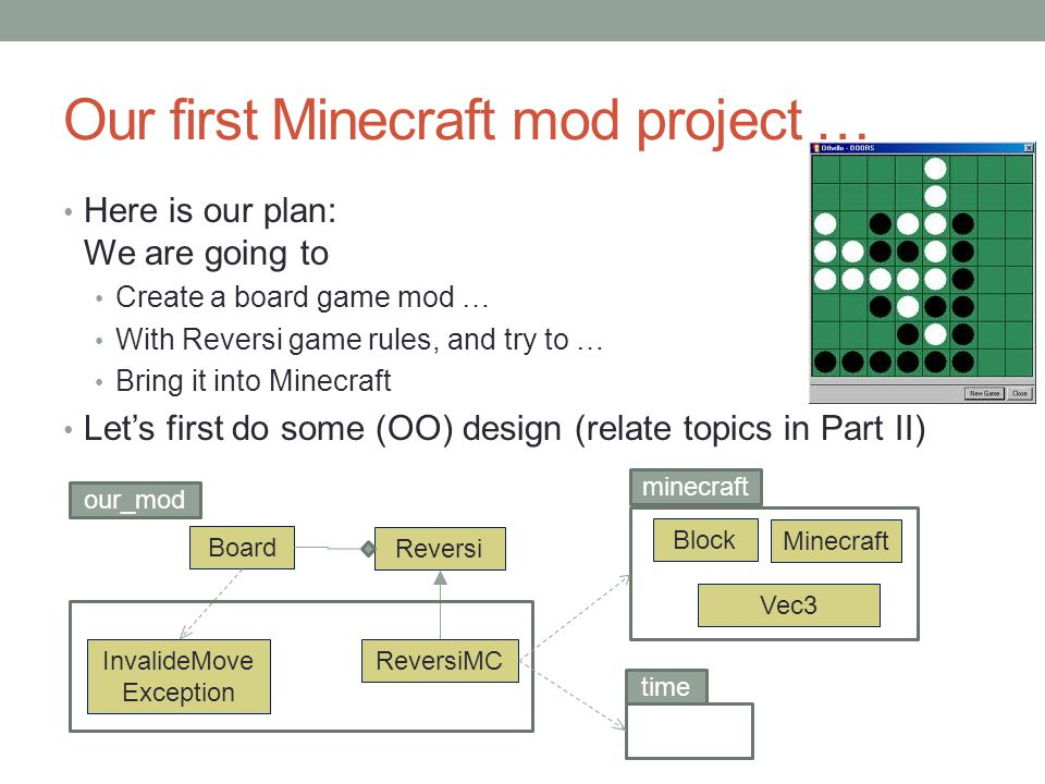 Our first Minecraft mod project … Here is our plan: We are going to Create a board game mod … With Reversi game rules, and try to … Bring it into Minecraft Let's first do some (OO) design (relate topics in Part II) Board Reversi ReversiMCInvalideMove Exception our_mod Block Minecraft Vec3 minecraft time