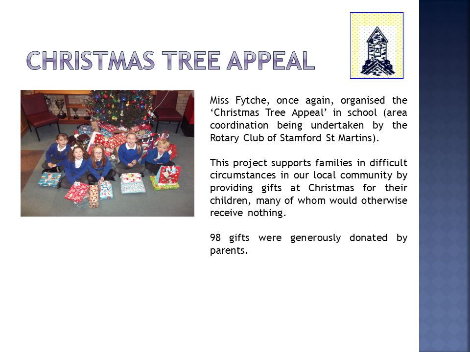 Miss Fytche, once again, organised the 'Christmas Tree Appeal' in school (area coordination being undertaken by the Rotary Club of Stamford St Martins