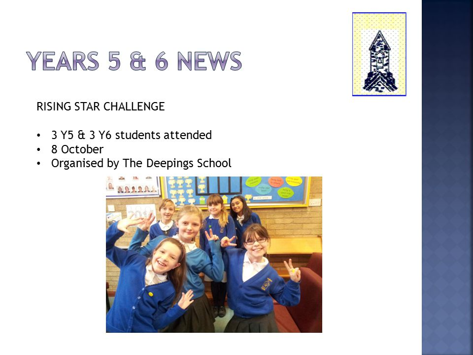 RISING STAR CHALLENGE 3 Y5 & 3 Y6 students attended 8 October Organised by The Deepings School