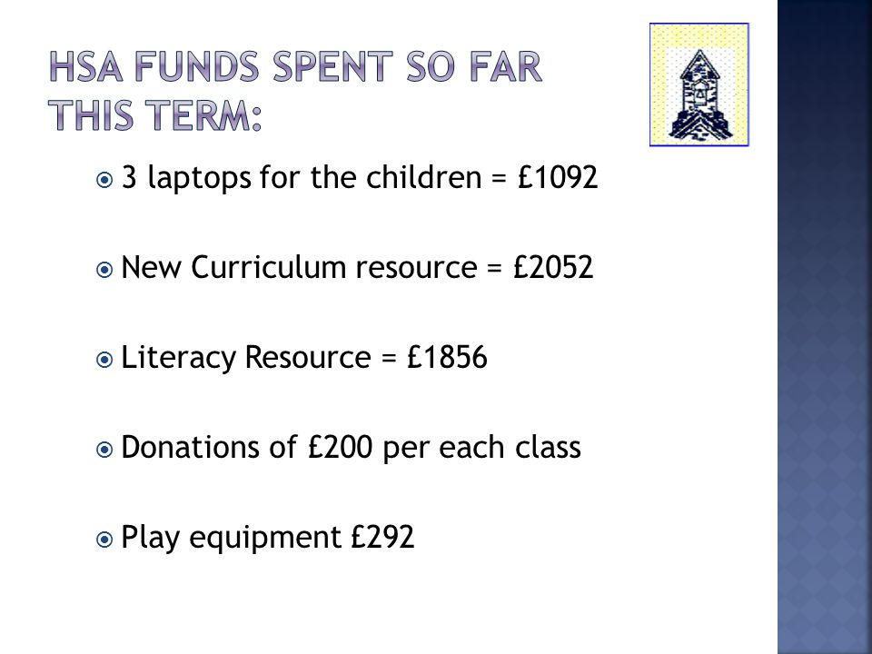  3 laptops for the children = £1092  New Curriculum resource = £2052  Literacy Resource = £1856  Donations of £200 per each class  Play equipment