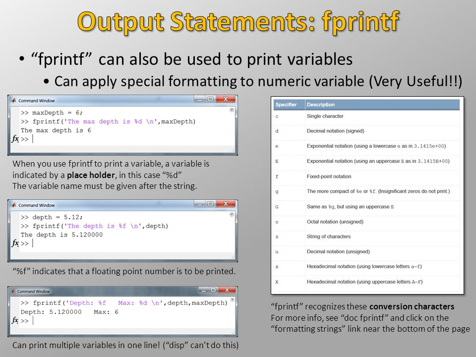 """""""fprintf"""" can also be used to print variables Can apply special formatting to numeric variable (Very Useful!!) """"fprintf"""" recognizes these conversion c"""