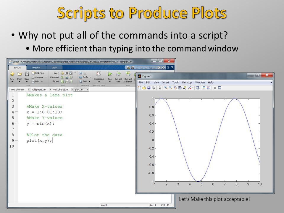 Why not put all of the commands into a script? More efficient than typing into the command window Let's Make this plot acceptable!