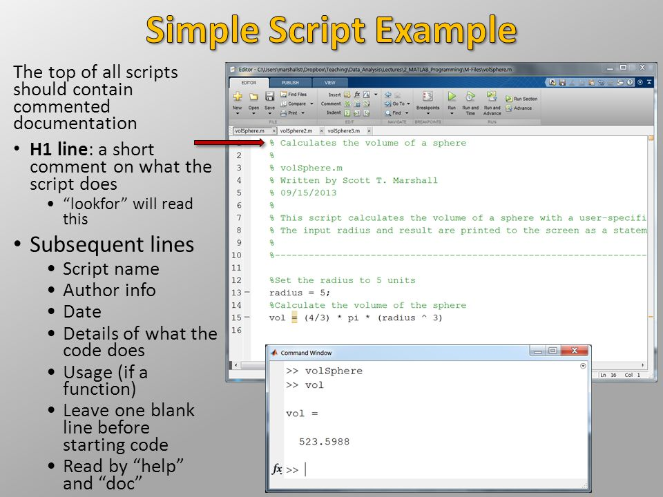 """The top of all scripts should contain commented documentation H1 line: a short comment on what the script does """"lookfor"""" will read this Subsequent lin"""