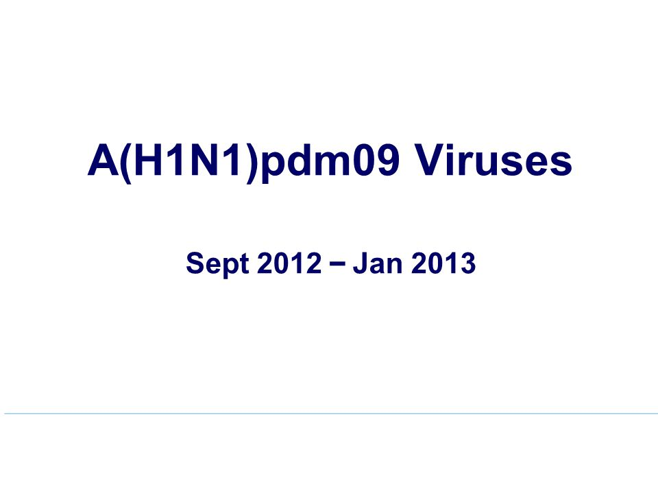A(H1N1)pdm09 Viruses Sept 2012 – Jan 2013