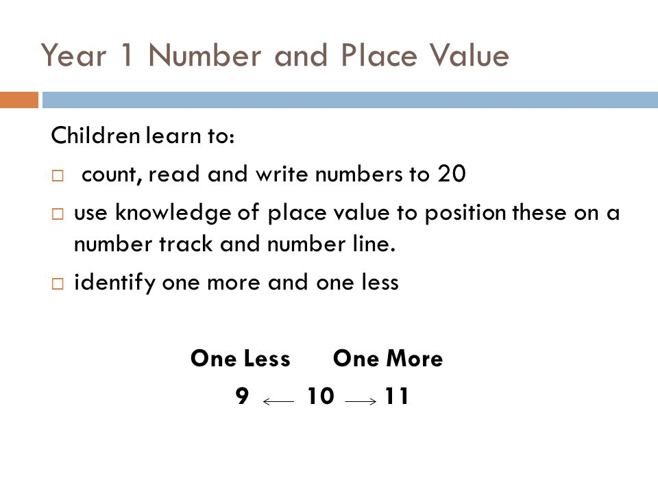 Year 1 Number and Place Value Children learn to:  count, read and write numbers to 20  use knowledge of place value to position these on a number track and number line.