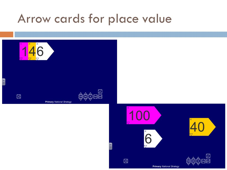 Arrow cards for place value