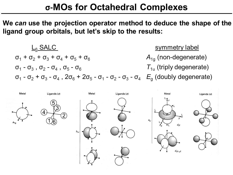 σ- MOs for Octahedral Complexes We can use the projection operator method to deduce the shape of the ligand group orbitals, but let's skip to the resu