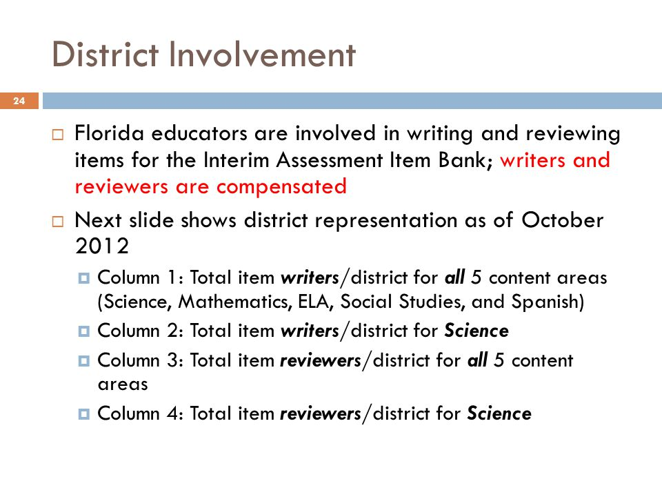 District Involvement 24  Florida educators are involved in writing and reviewing items for the Interim Assessment Item Bank; writers and reviewers are compensated  Next slide shows district representation as of October 2012  Column 1: Total item writers/district for all 5 content areas (Science, Mathematics, ELA, Social Studies, and Spanish)  Column 2: Total item writers/district for Science  Column 3: Total item reviewers/district for all 5 content areas  Column 4: Total item reviewers/district for Science