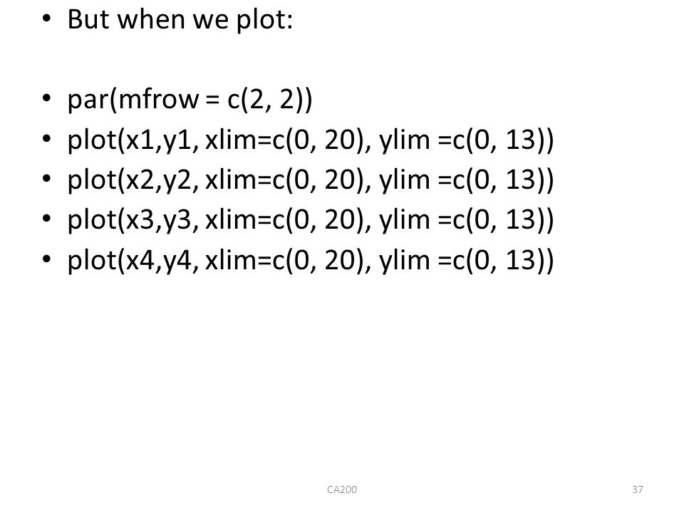 But when we plot: par(mfrow = c(2, 2)) plot(x1,y1, xlim=c(0, 20), ylim =c(0, 13)) plot(x2,y2, xlim=c(0, 20), ylim =c(0, 13)) plot(x3,y3, xlim=c(0, 20)
