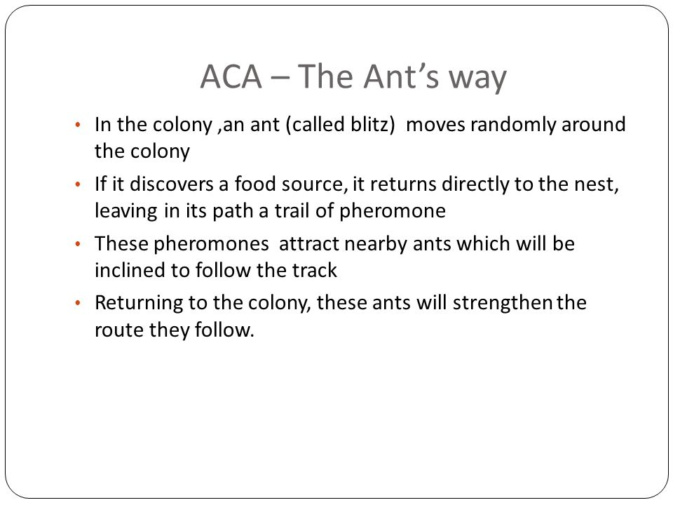 ACA – The Ant's way In the colony,an ant (called blitz) moves randomly around the colony If it discovers a food source, it returns directly to the nes