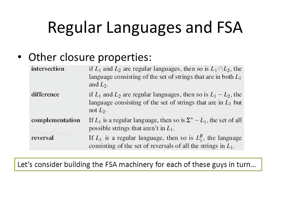 Regular Languages and FSA Other closure properties:
