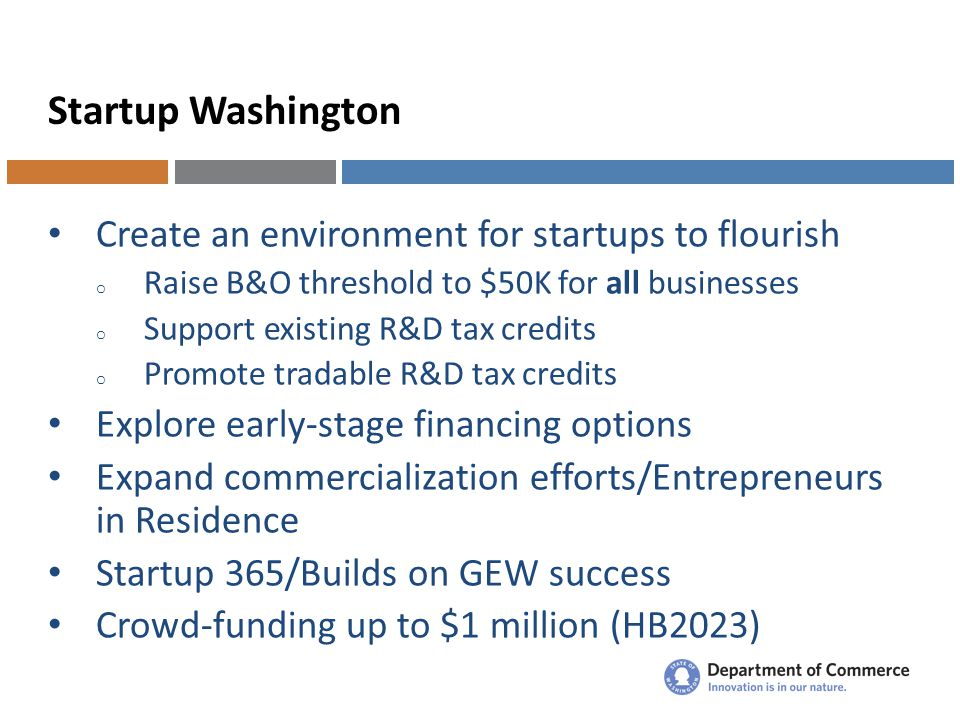 Startup Washington Create an environment for startups to flourish o Raise B&O threshold to $50K for all businesses o Support existing R&D tax credits o Promote tradable R&D tax credits Explore early-stage financing options Expand commercialization efforts/Entrepreneurs in Residence Startup 365/Builds on GEW success Crowd-funding up to $1 million (HB2023)