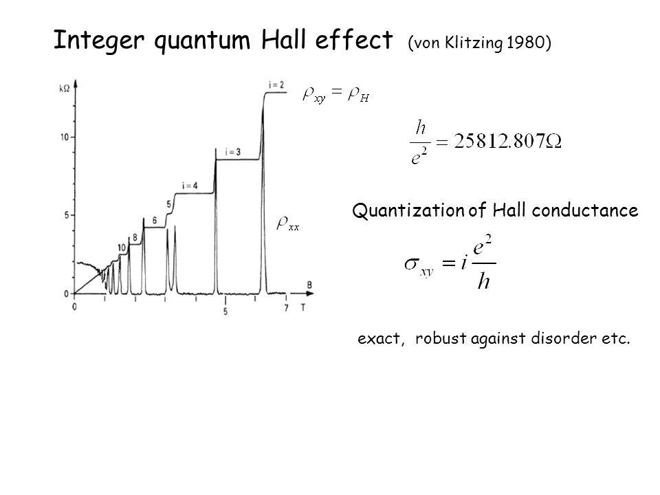Integer quantum Hall effect (von Klitzing 1980) Quantization of Hall conductance exact, robust against disorder etc.