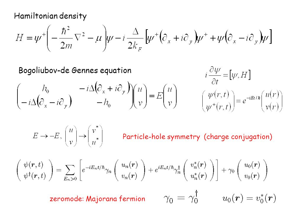 Hamiltonian density Bogoliubov-de Gennes equation Particle-hole symmetry (charge conjugation) zeromode: Majorana fermion