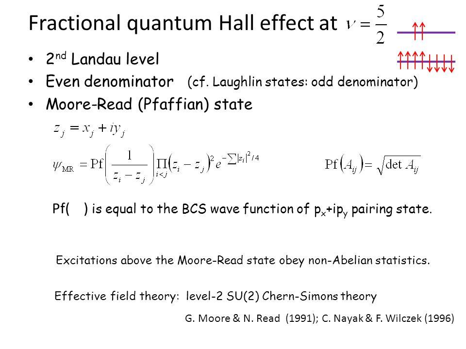Fractional quantum Hall effect at 2 nd Landau level Even denominator (cf. Laughlin states: odd denominator) Moore-Read (Pfaffian) state Pf( ) is equal