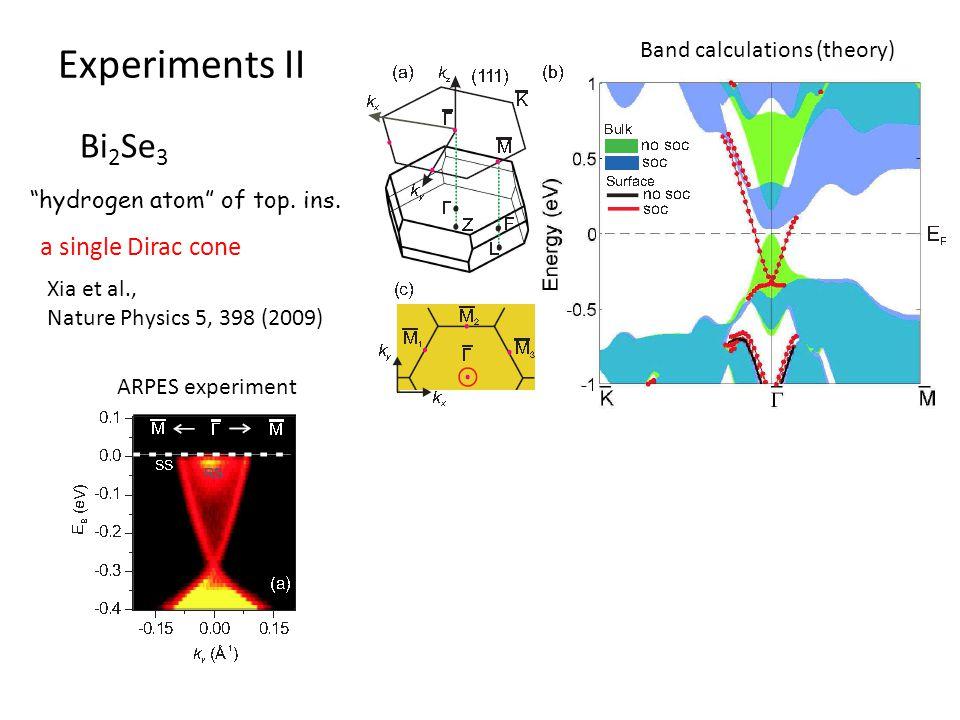 """Experiments II Bi 2 Se 3 Band calculations (theory) Xia et al., Nature Physics 5, 398 (2009) """"hydrogen atom"""" of top. ins. a single Dirac cone ARPES ex"""