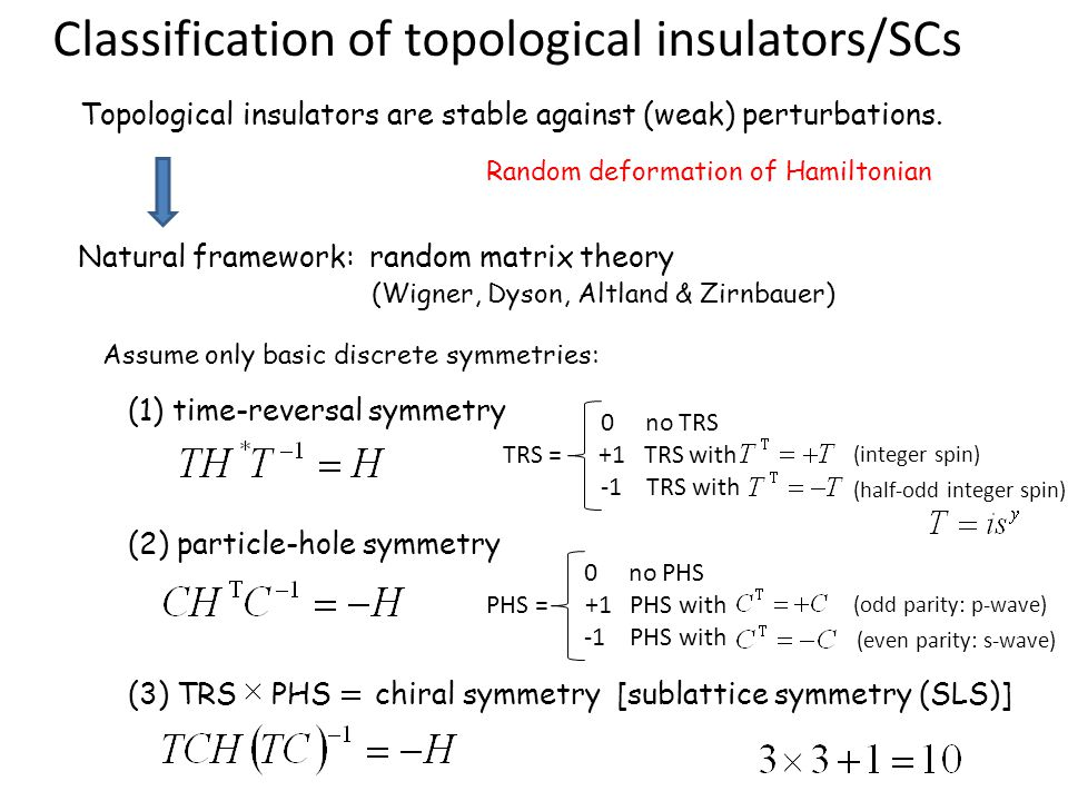 Topological insulators are stable against (weak) perturbations. Classification of topological insulators/SCs Random deformation of Hamiltonian Natural