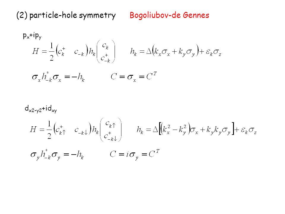 (2) particle-hole symmetry Bogoliubov-de Gennes p x +ip y d x2-y2 +id xy