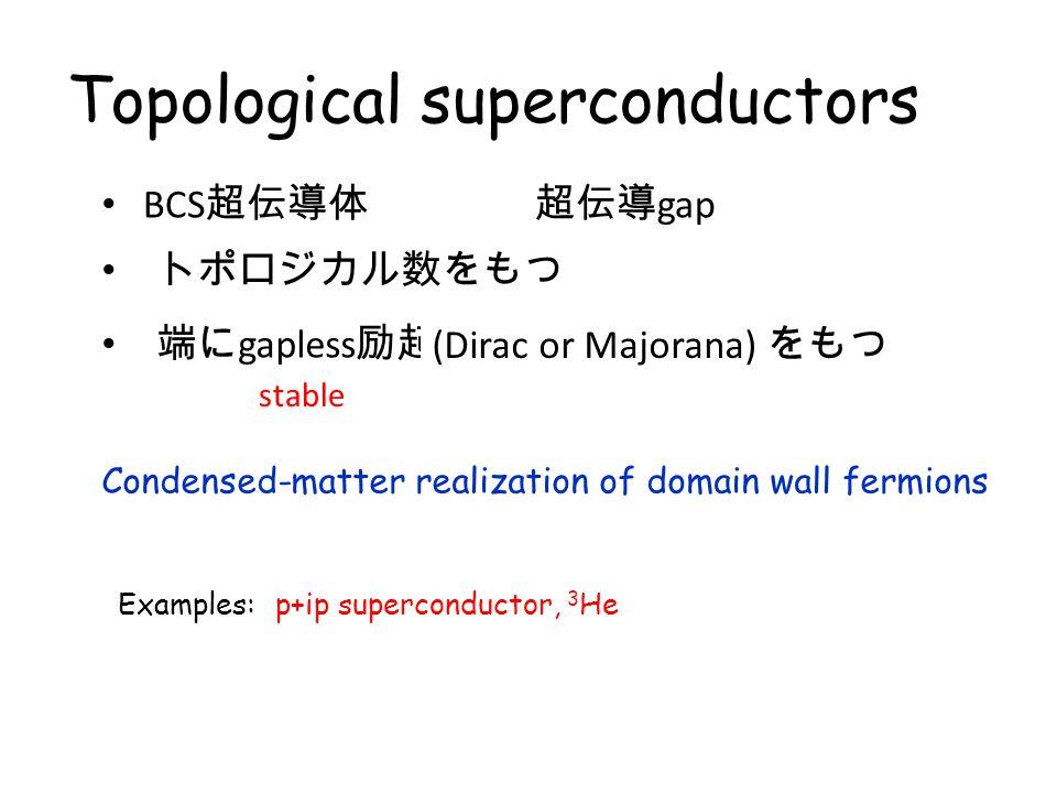 Topological (band) insulators Condensed-matter realization of domain wall fermions Examples: バンド絶縁体 トポロジカル数をもつ 端に gapless 励起 (Dirac fermion) をもつ Topol