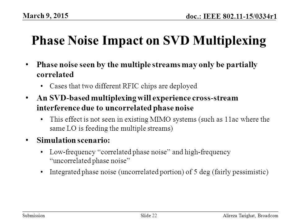 Submission doc.: IEEE 802.11-15/0334r1 Phase Noise Impact on SVD Multiplexing Phase noise seen by the multiple streams may only be partially correlate